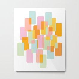 Pastel Geometric Shape Collage Metal Print