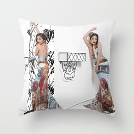 Chinese Silk Art Print Throw Pillow