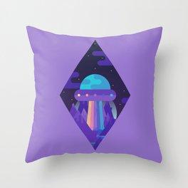 ROYGBIV Flying-Saucer Throw Pillow