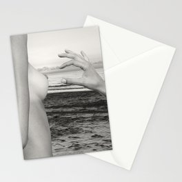 Lesbian Love at Sunrise on the beach Stationery Cards