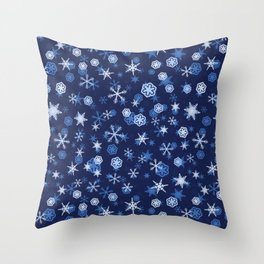 True Blue Snowflake Pattern Throw Pillow