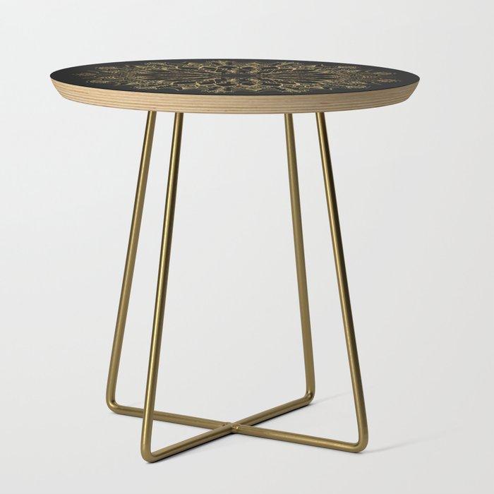 Golden Bee Mandala Side Table
