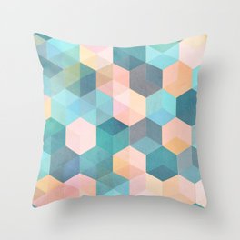 Child's Play 2 - hexagon pattern in soft blue, pink, peach & aqua Throw Pillow