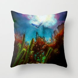 Seascape With Diver #2 Throw Pillow