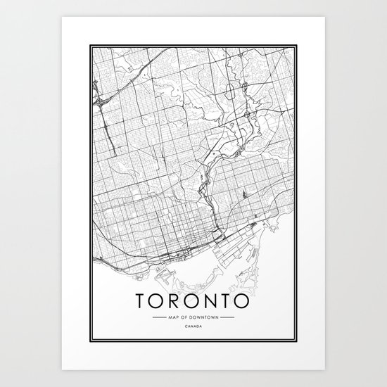 Toronto City Map Canada White and Black by victorialyu