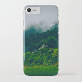 Moist Rainy Forest Pine Trees  Green Hills iPhone Case
