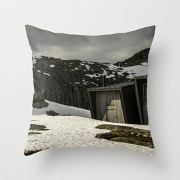 tourist base deep in the mountains Throw Pillow