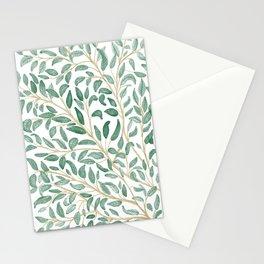 Green Leaf Pattern Stationery Cards