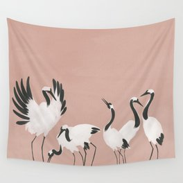 Crane Dance - Mauve Pink Wall Tapestry
