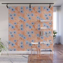 Summer Blooms | Peach and Periwinkle Wall Mural