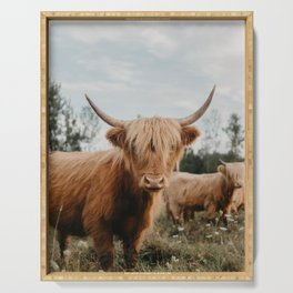 Highland Cow In The Country Serving Tray