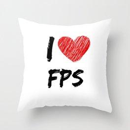 I Love FPS Throw Pillow