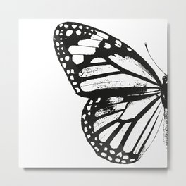 Monarch Butterfly | Left Butterfly Wing | Vintage Butterflies | Black and White | Metal Print