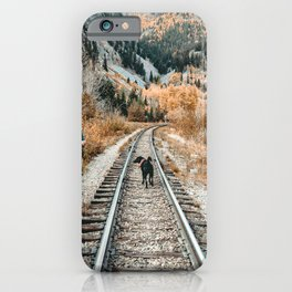 Autumn Tracks // Backpacking the Railroad Fall Tree Landscape with Black Dog iPhone Case