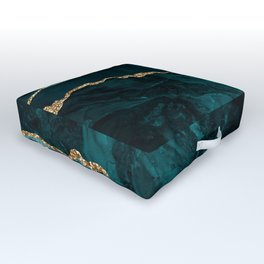 Teal Blue Emerald Marble Landscapes Outdoor Floor Cushion
