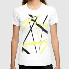 Criss Crossed Lemon Yellow and Black Stripes on White T-shirt