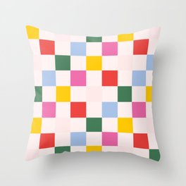 Retro Bauhaus Pattern   Abstract Shapes   Geometric Checks Throw Pillow