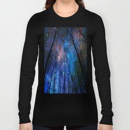 Black Trees Dark Blue Space Long Sleeve T-shirt