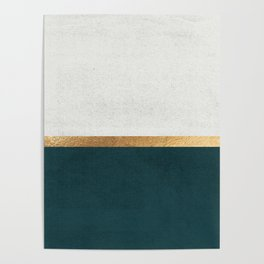 Deep Green, Gold and White Color Block Poster
