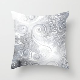 White Silver Fractal Spiral Glow Throw Pillow