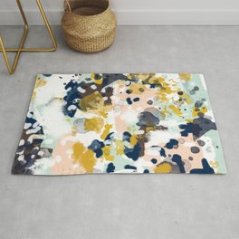 Sloane - Abstract painting in modern fresh colors navy, mint, blush, cream, white, and gold Rug