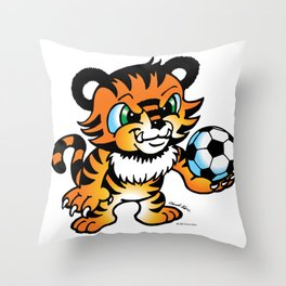 Soccer Tiger (color) square Throw Pillow