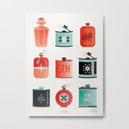 Flask Collection – Red & Turquoise Palette Metal Print