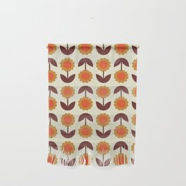 Retro 70s Wallpaper Flowers Wall Hanging