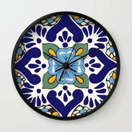 Talavera Blue Green Mosaic Wall Clock