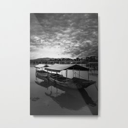 Boat on Water (Black and White) Metal Print
