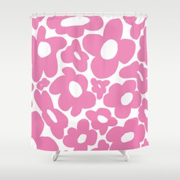 60s 70s Hippy Flowers Pink Shower Curtain