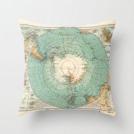 Vintage Map of Antarctica, 1912 Throw Pillow