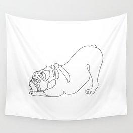 One line English Bulldog Downward Dog Wall Tapestry