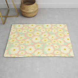 Coral and Yellow Chrysanthemums Rug