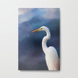 Painted Egret Metal Print