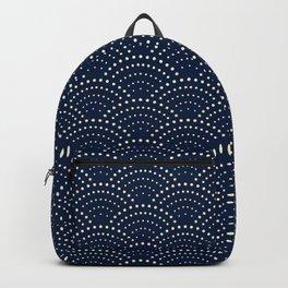 Japanese Blue Wave Seigaiha Indigo Super Moon Pattern Backpack