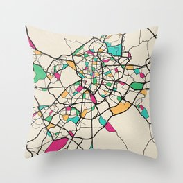 Colorful City Maps: Madrid, Spain Throw Pillow