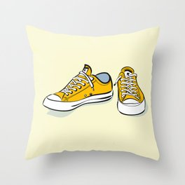 Yellow Sneakers Throw Pillow