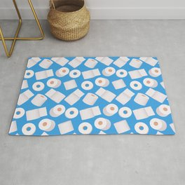 Toilet paper rolls on blue (pattern) Rug