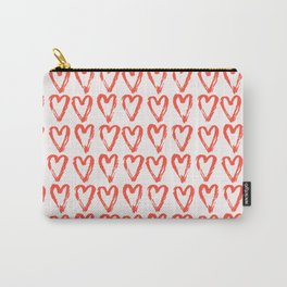 Heart Pattern Living Coral - hand painted Carry-All Pouch