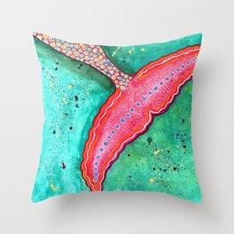 Watercolor Mermaid Tail Throw Pillow