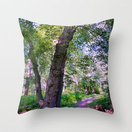 Magical Forest Trail Throw Pillow