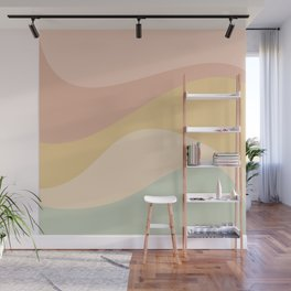 Abstract Color Waves - Neutral Pastel Wall Mural
