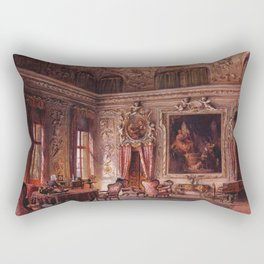 Interior Portrait, Music Room, The Salone of the Palazzo Barbaro by Ludwig Passini Rectangular Pillow