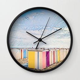 Beach Huts, Le Havre, France Wall Clock
