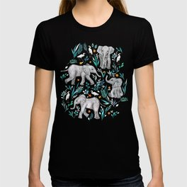 Baby Elephants and Egrets in Watercolor - egg shell blue T-shirt