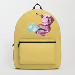 Bubble Gum Pink T-rex in Yellow Backpack