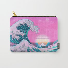 Vaporwave Aesthetic Great Wave Off Kanagawa Sunset Carry-All Pouch