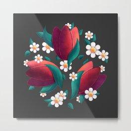 Bouquet (Tulipes et Marguerittes) Noir Metal Print