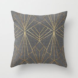 Art Deco in Gold & Grey - Large Scale Throw Pillow